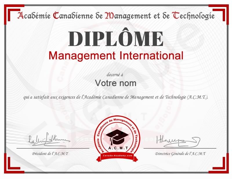 Diplôme Management International​