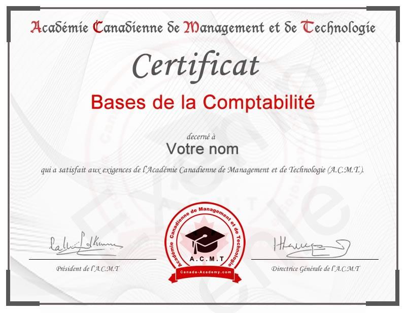 Meilleur certificat Bases de la Comptabilité en ligne