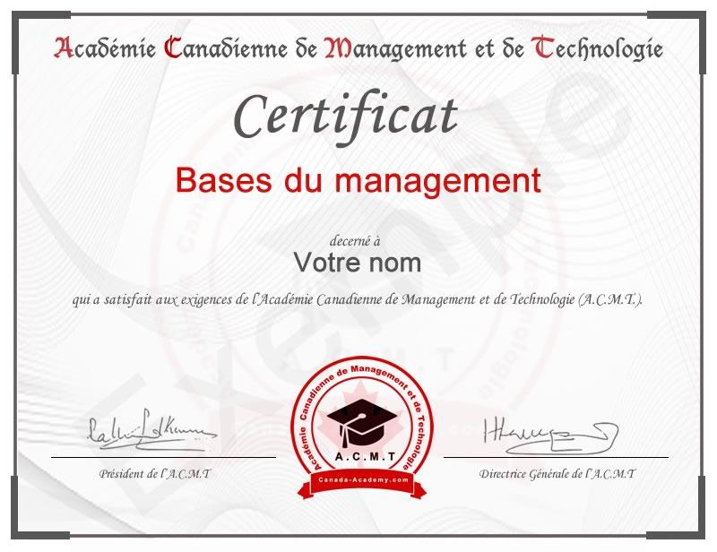 Cours introduction en management en ligne avec certificat