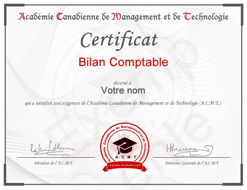 Meilleur certificat en Bilan Comptable