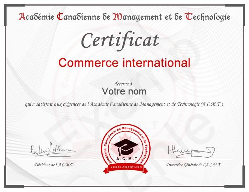 meilleur certificat Commerce international