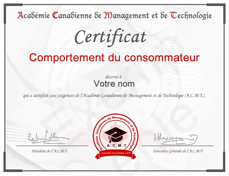 Meilleur certificat en Comportement du consommateur en marketing