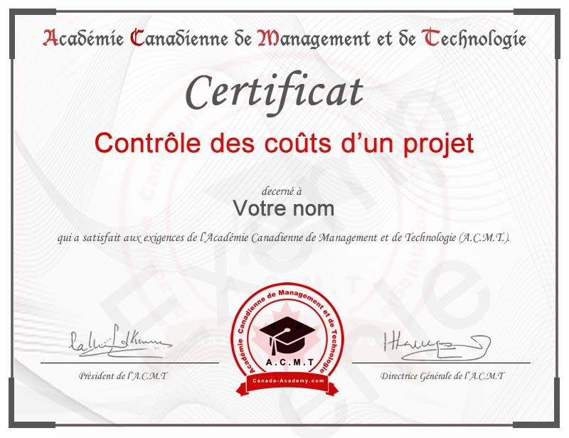 meilleur certificat en Contrôle des coûts d'un projet