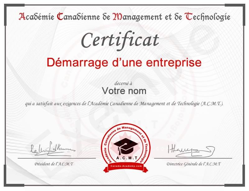 meilleur certificat en entreprenariat Démarrage d'entreprise