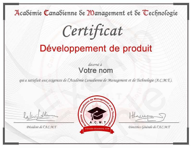 certificat-Développement de produit