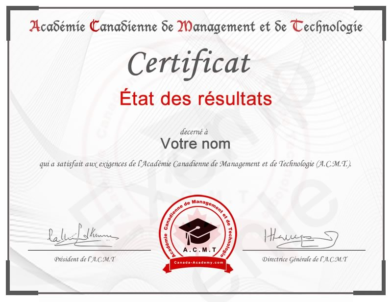 certificat-État des résultats