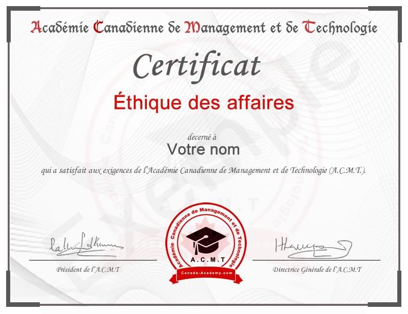 meilleur certificat Éthique des affaires