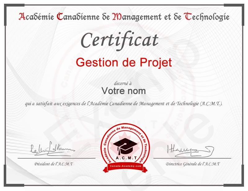 Meilleur certificat en Gestion de Projet