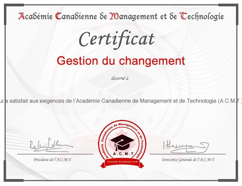 meilleur certificat en Gestion de changement