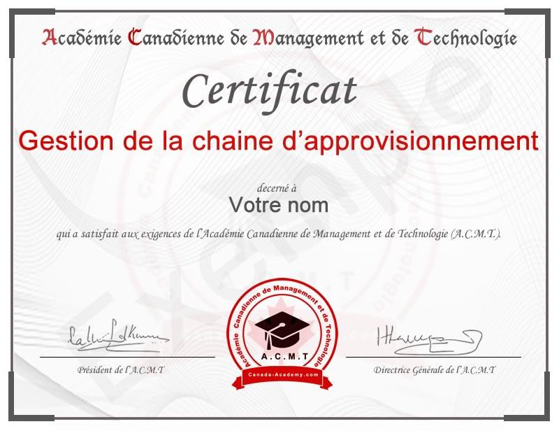 meilleur certificat en Gestion de la chaine d'approvisionnement