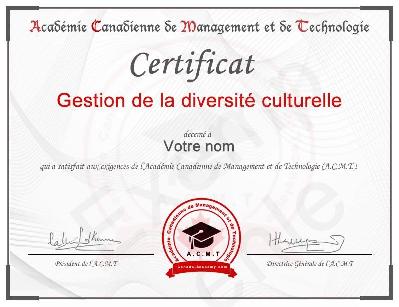 Meilleur certificat en Gestion de la diversité culturelle
