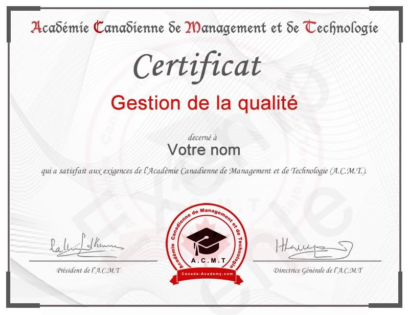 meilleur certificat en Gestion qualité