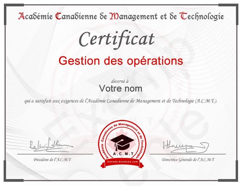 certificat-Gestion des opérations