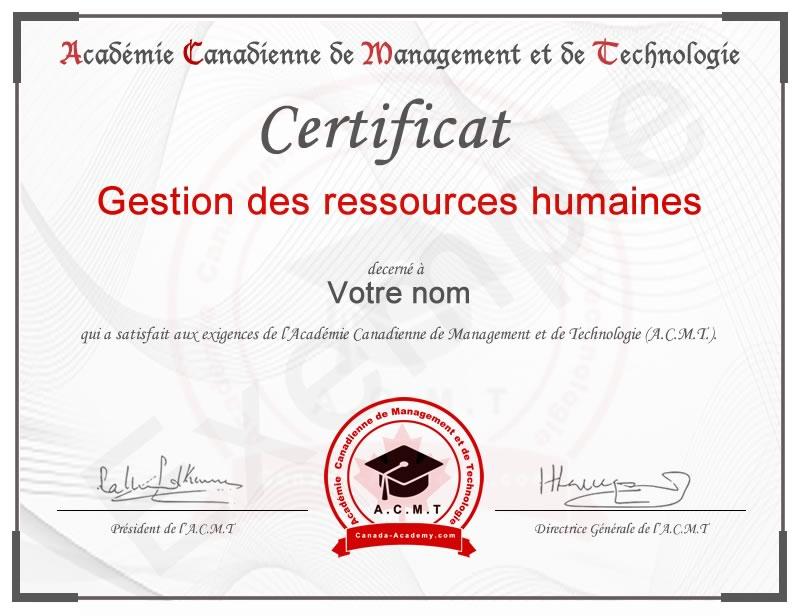 meilleur certificat Gestion des ressources humaines