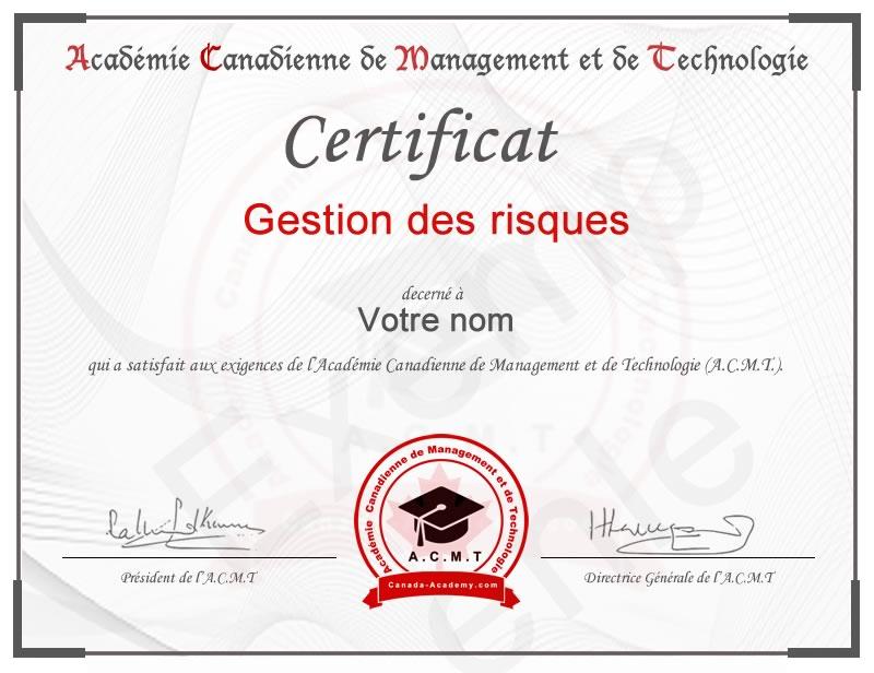 certificat-Gestion des risques