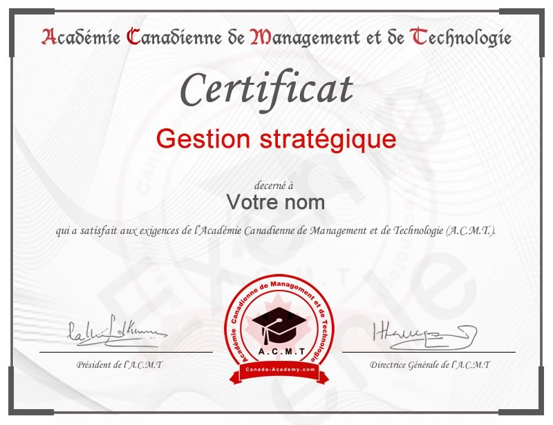 meilleur certificat en Gestion stratégique