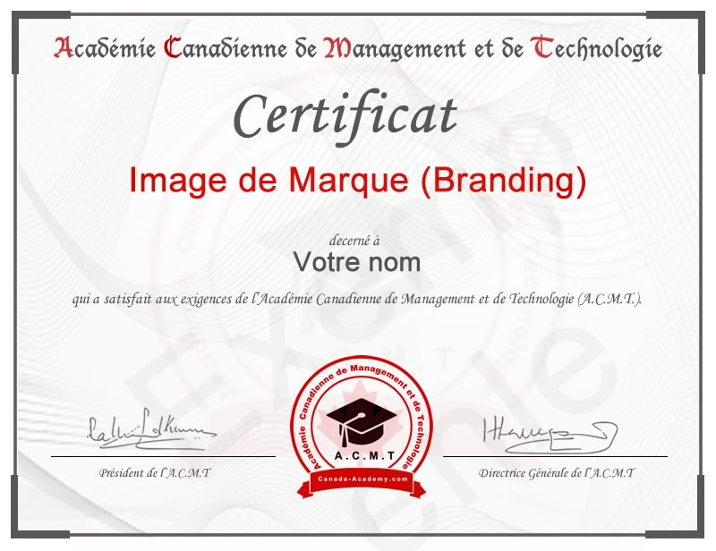 meilleur certificat en Image de Marque (Branding) en marketing