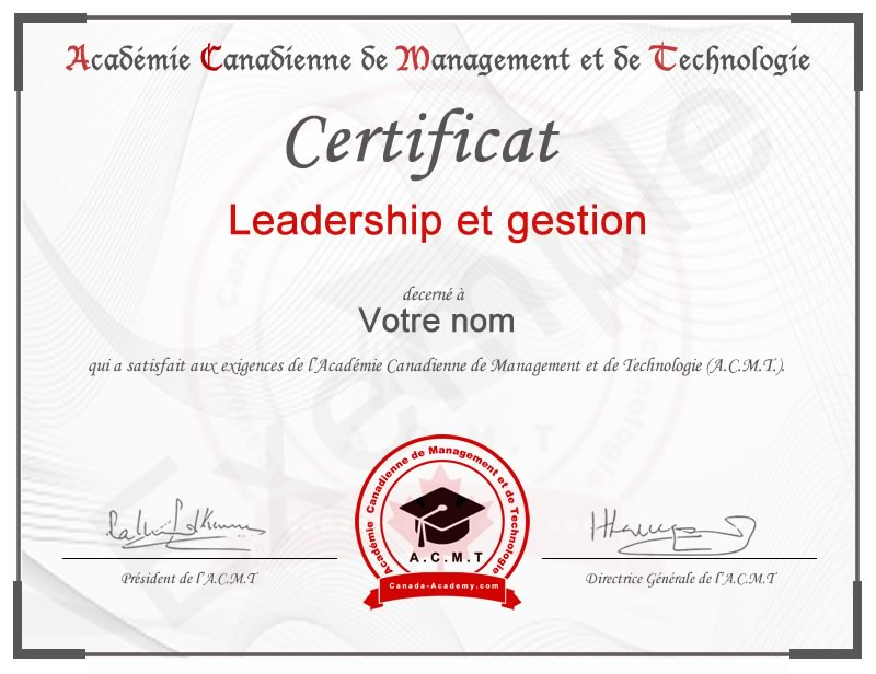 certificat-Leadership et gestion