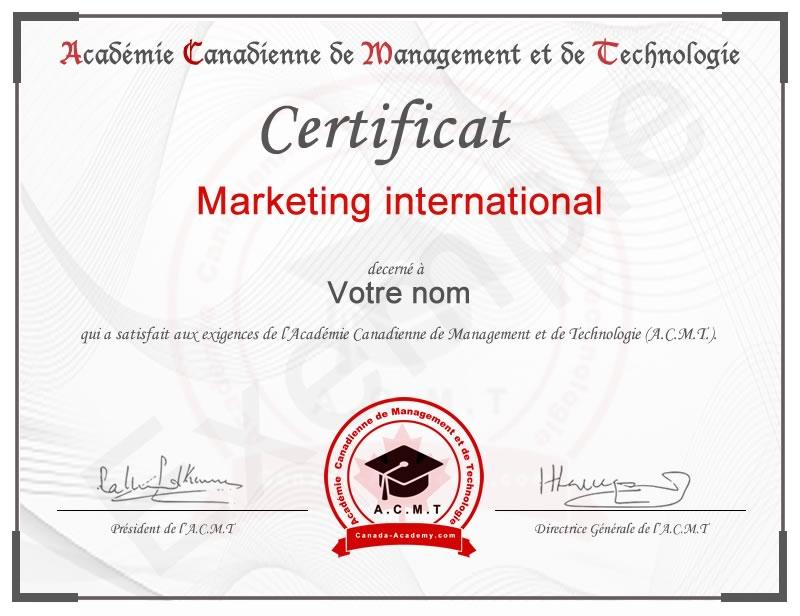 meilleur certificat en Marketing international