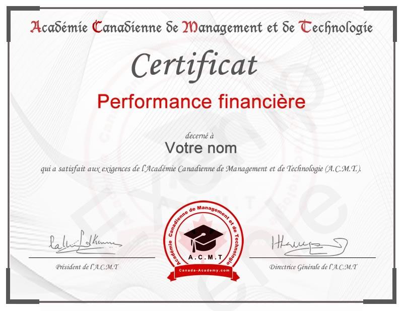 certificat-Performance financière
