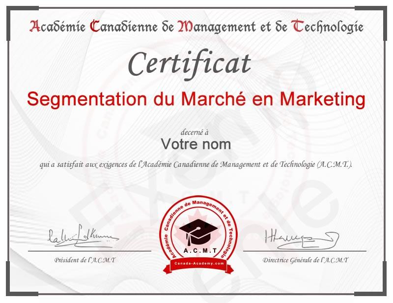 Meilleur certificat en Segmentation du Marché en marketing