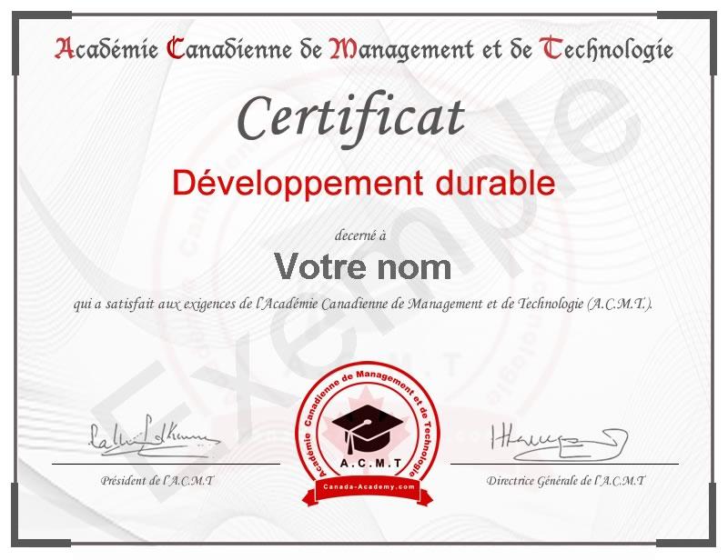 certificat-Développement durable