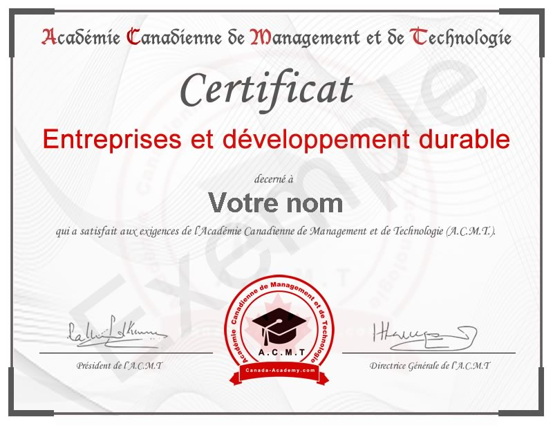 certificat Entreprises et développement durable