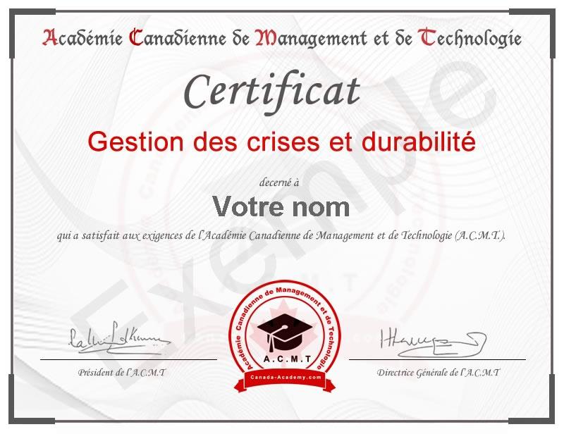 certificat-Gestion des crises et durabilité