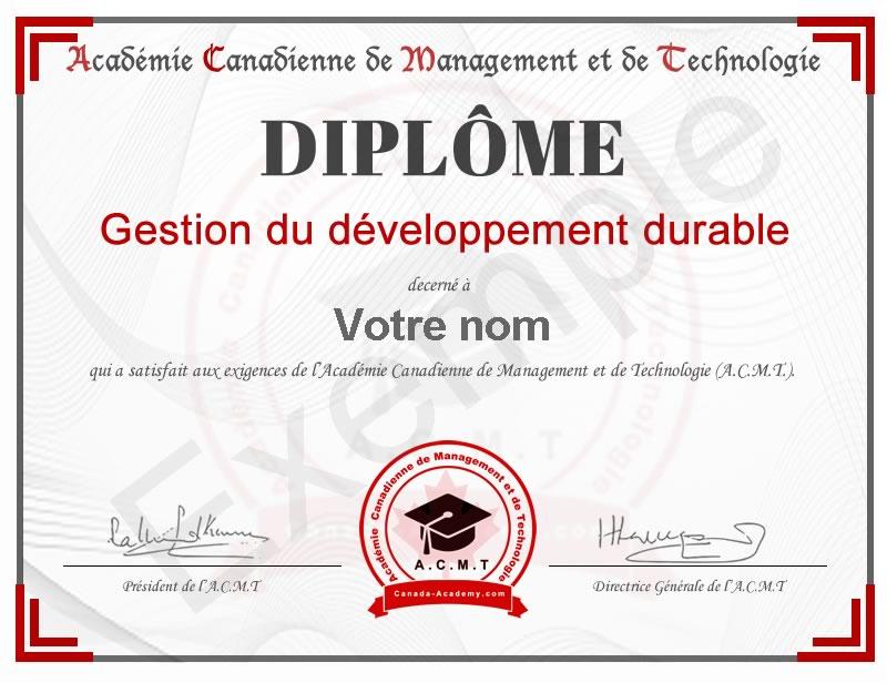 diplome-Gestion du développement durable